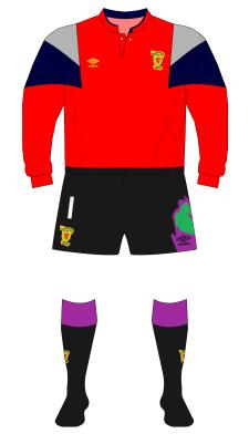 Scotland-1991-Umbro-red-goalkeeper-shirt-Goram-Romania