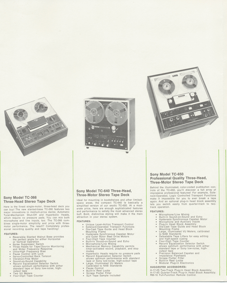 Sony reel tape recorders • the Museum of Magnetic Sound