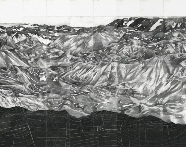Equant, 240 x 190 cm, charcoal on paper, 2014.