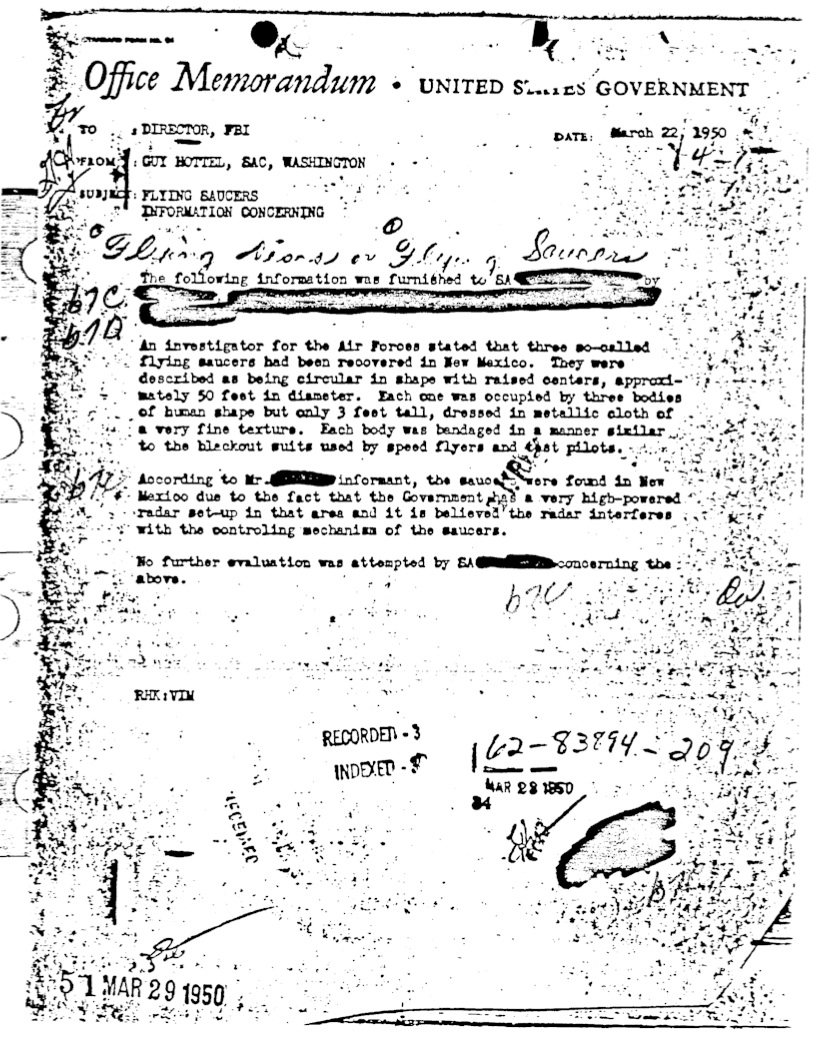 Guy Hottel UFO memo to the Director of the FBI