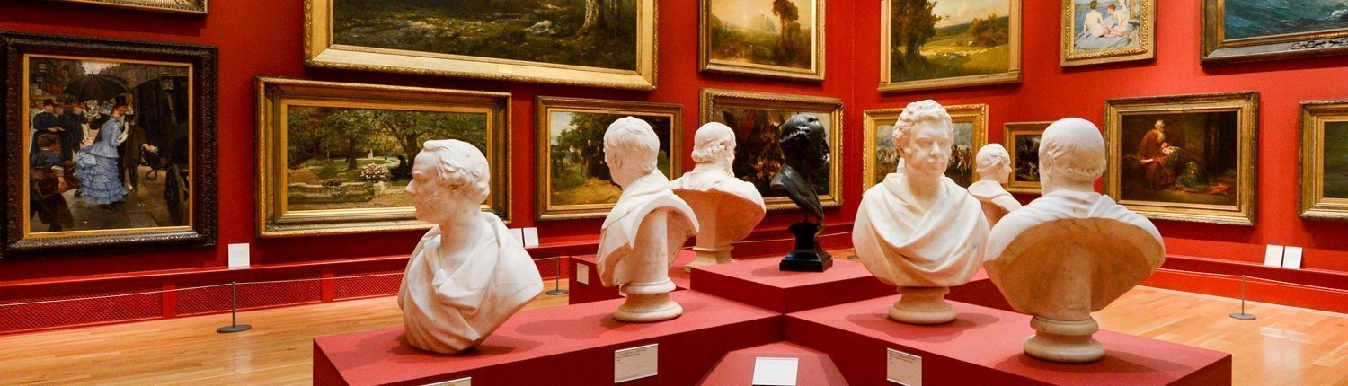 Several busts of the founders of Leeds Art Gallery