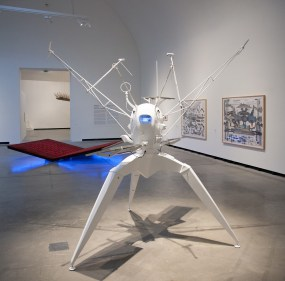 Exhibition view, with works by: Björn Schülke, Planet Space Rover, 2014. In the background: Slavs and Tatars, PrayWay, 2012, and Abu Bakarr Mansaray Photo: Hans Schröder, Marta Herford