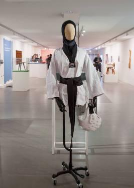 Exhibition view: Elham Seyed Javad, martial arts suit for muslim women Photo: Hans Schröder/Marta Herford
