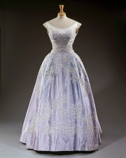 Sir Norman Hartnell, pale blue silk faille evening gown worn at the Royal Lyceum, Edinburgh, during the State Visit of King Olav of Norway in 1962. ROYAL COLLECTION TRUST/ (c)HER MAJESTY QUEEN ELIZABETH II 2016 'Fashioning a Reign: 90 Years of Style from The Queen's Wardrobe'