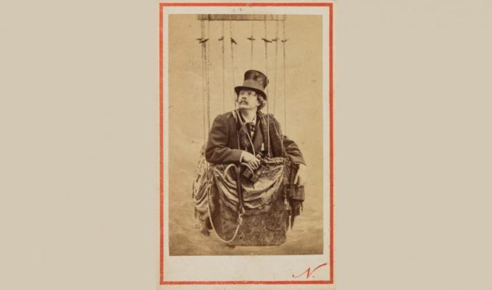 Self Portrait, Posed in a Balloon Basket, Nadar, 1862. Albumen print carte-de-visite. SBMA, Museum purchase, 19th century Art Acquisition Fund