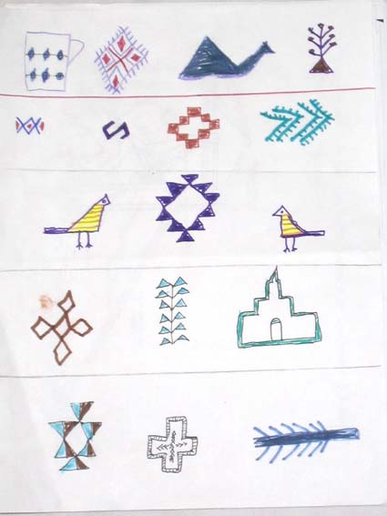 using symbols traditionally found in their carpets