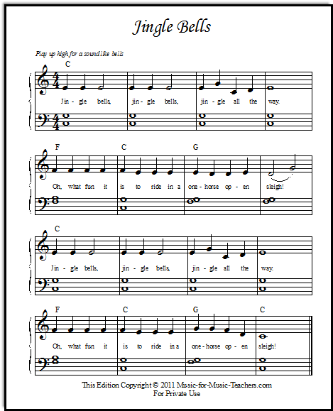 Jingle Bells Piano Notes In Numbers : jingle, bells, piano, notes, numbers, Jingle, Bells, Sheet, Music, Beginner, Piano, Students
