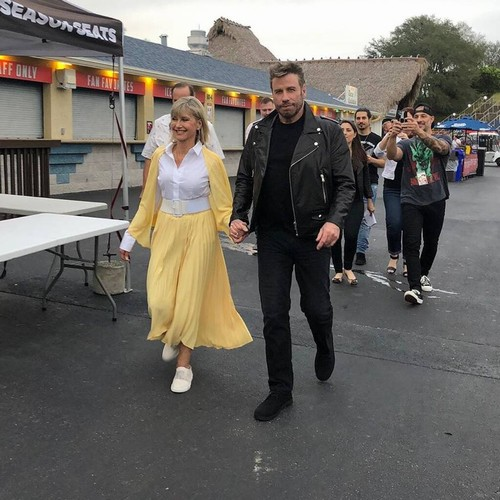 Olivia Newton-john And John Travolta Reunite In Grease Costumes For First Time In 40 Years