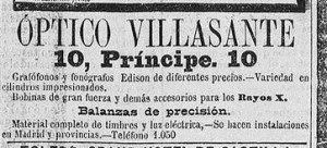 A 1898 for the Madrid gabinete Villasante. Villasante was originally an optician and also sold a variety of scientific equipment.