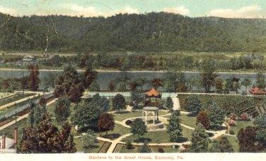 Вид сада в бывшем доме Джорджа Раппа в Олд-Экономи (Пенсильвания). В саду находились центральный павильон, грот, виноградник, оранжерея, древесные посадки, фруктовый сад, овощной и зеленный сады (фото к. XIX - нач. XX в.)