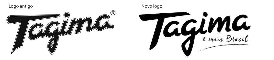 Comparação dos logos da Tagima. Nova geração