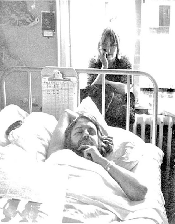 Robert Wyatt at hospital 1973