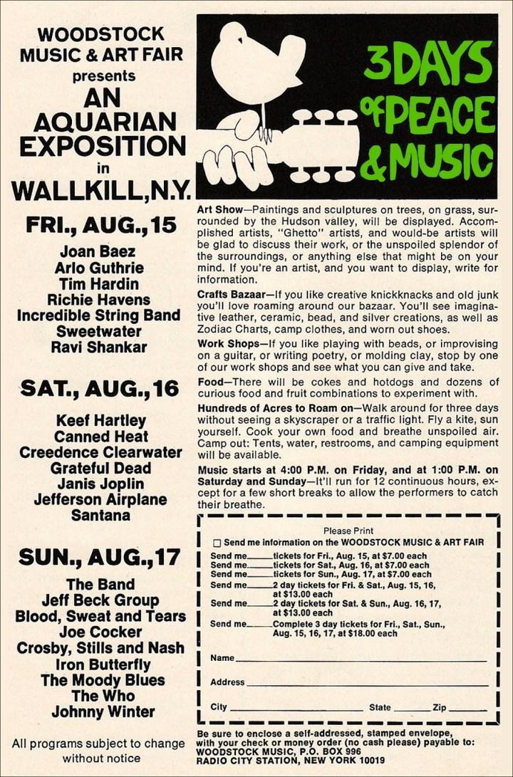 Woodstock Tickets August 1969