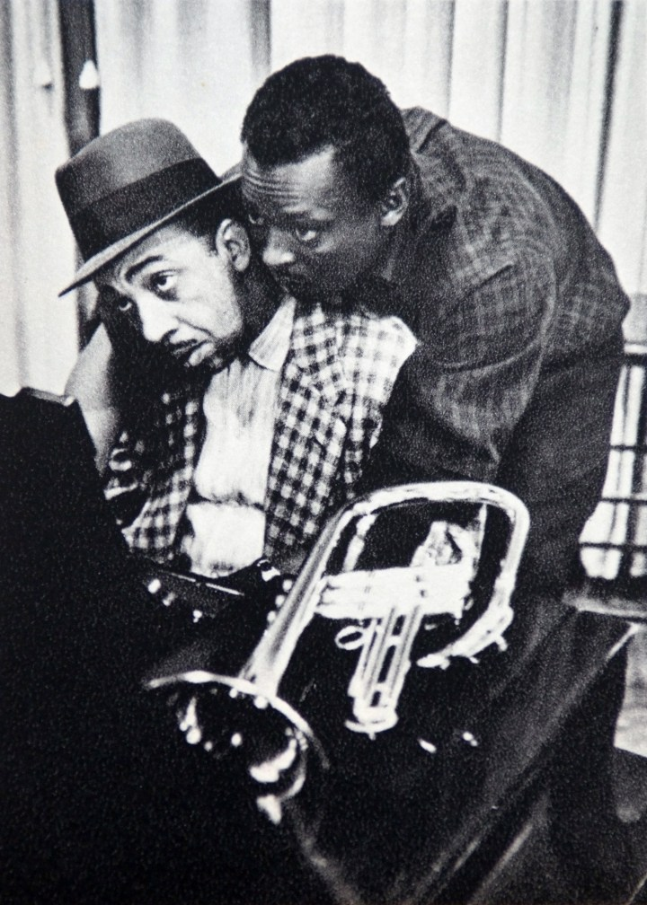 Red Garland and Miles Davis during a recording session