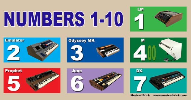 Synthesizers and Drum Machines Numbers 1-10 in LEGO