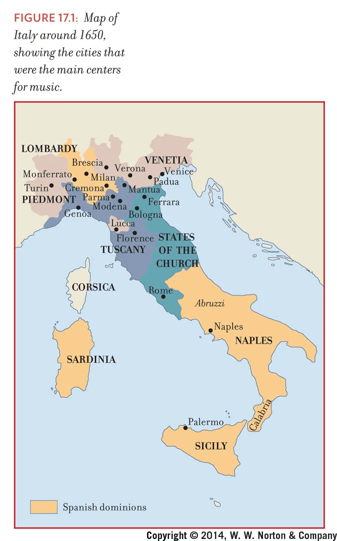 17th Century Music Centers Of Italy Musical Geography