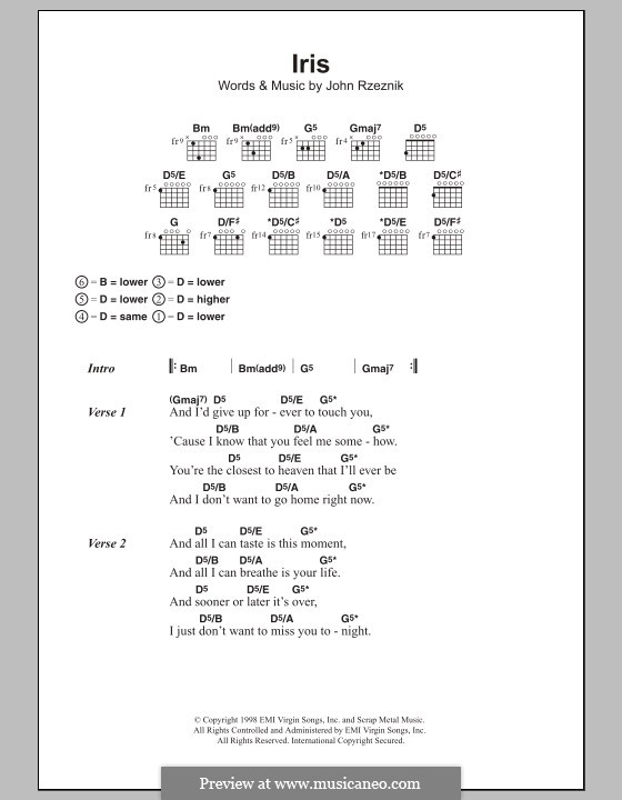 Iris Goo Goo Dolls Chord : dolls, chord, Dolls), Rzeznik, Sheet, Music, MusicaNeo