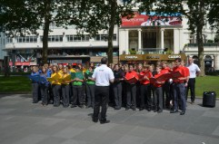 Performing in London's Leicester Square as part of the Cultural Olympiad