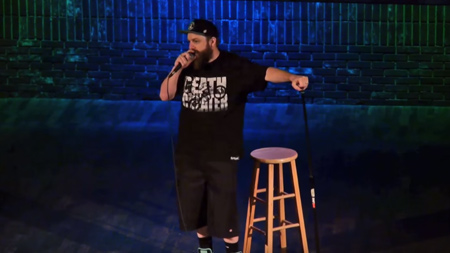 battle rapper Dirtbag Dan doing comedy at the Improv