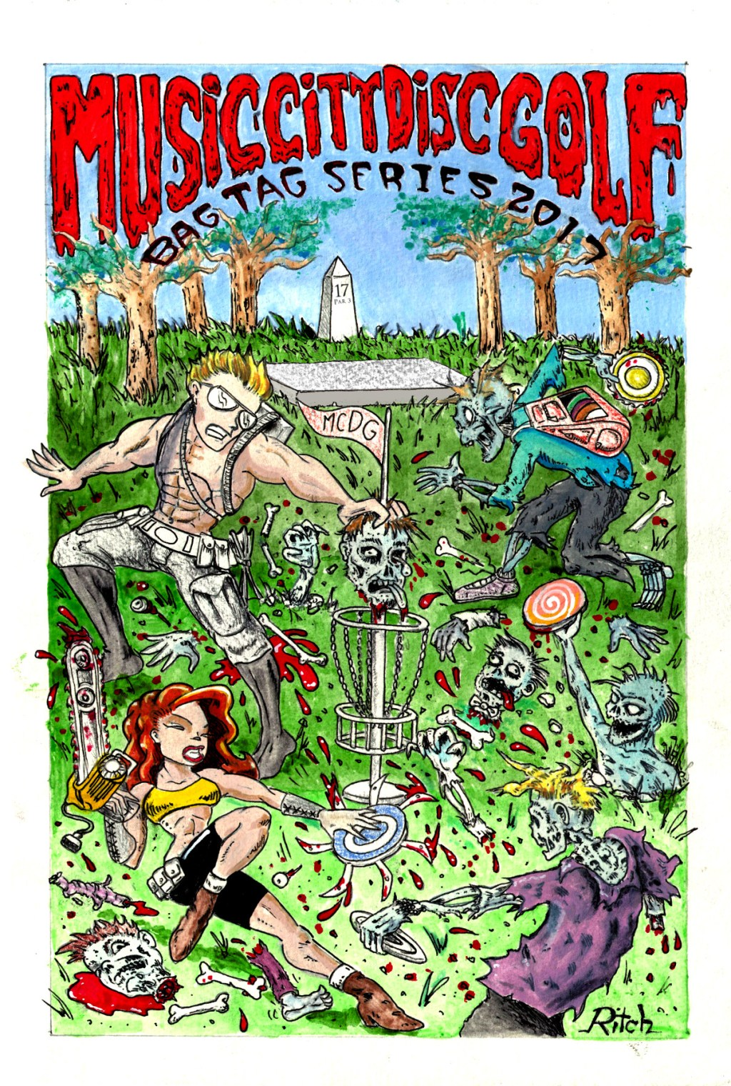 2017 Music city disc golf bag tag poster