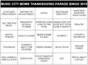 macy's thanksgiving day parade bingo cards 2015