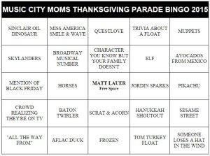 thanksgiving family fun parade bingo cards