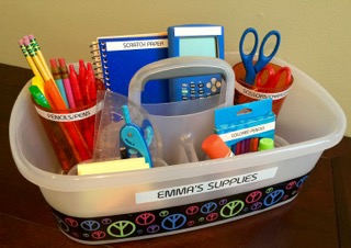 kids study space organizing school supplies caddy