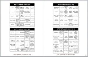 Macy's Thanksgiving Day Parade Bingo Cards Family Fun