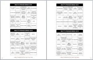 Macy's Thanksgiving Parade Bingo Cards Family Fun