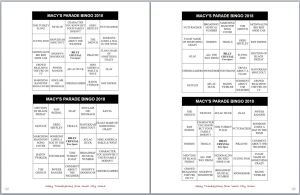 Macy's Thanksgiving Parade Bingo Cards Family Fun