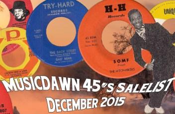 Musicdawn December 2015 45's Sale-List