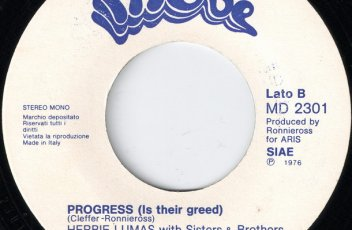 Herbie Lumas with Sisters & Brothers - Progress (Is Their Greed) 45