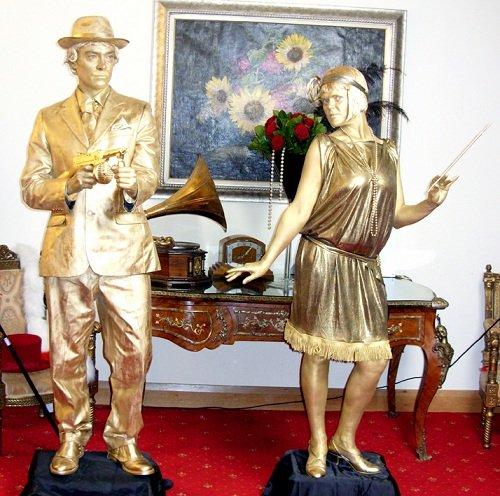 1920's Gold Male Female Statues