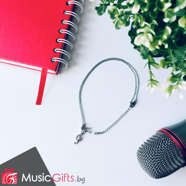 Колие, музика, музикален, подарък, сребристо, бижу, ключ сол, ноти, шестнайсетини, музикална, без никел, не съдържа литий, подарък за жена, музикант, певица, госпожа по музика, госпожа по пеене
