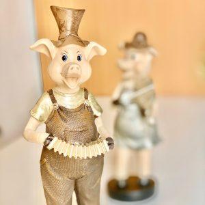 декоративна фигурка музикална акордеон акордеонист прасе статуетка прасчо музикант подарък