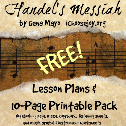 Handel's Messiah Printable Pack ~ Get this free 10-page music education printable pack with lesson plans, notebooking pages, copywork, listening sheets and a music symbol/instrument sheet. #musicinourhomeschool #homeschoolmusic #musicprintables #musiceducation