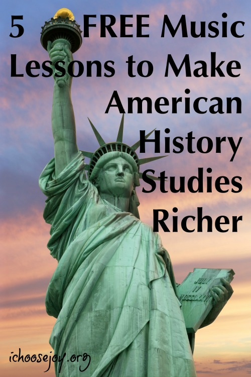 5 FREE Music Lessons to Make American History Studies Richer. Use these music lessons when you study American history with your kids. #musicinourhomeschool #americanhistory #musichistory #20thcenturymusic