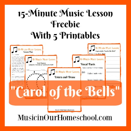 15-Minute Freebie Music Lesson for Carol of the Bells with 5-page printable pack