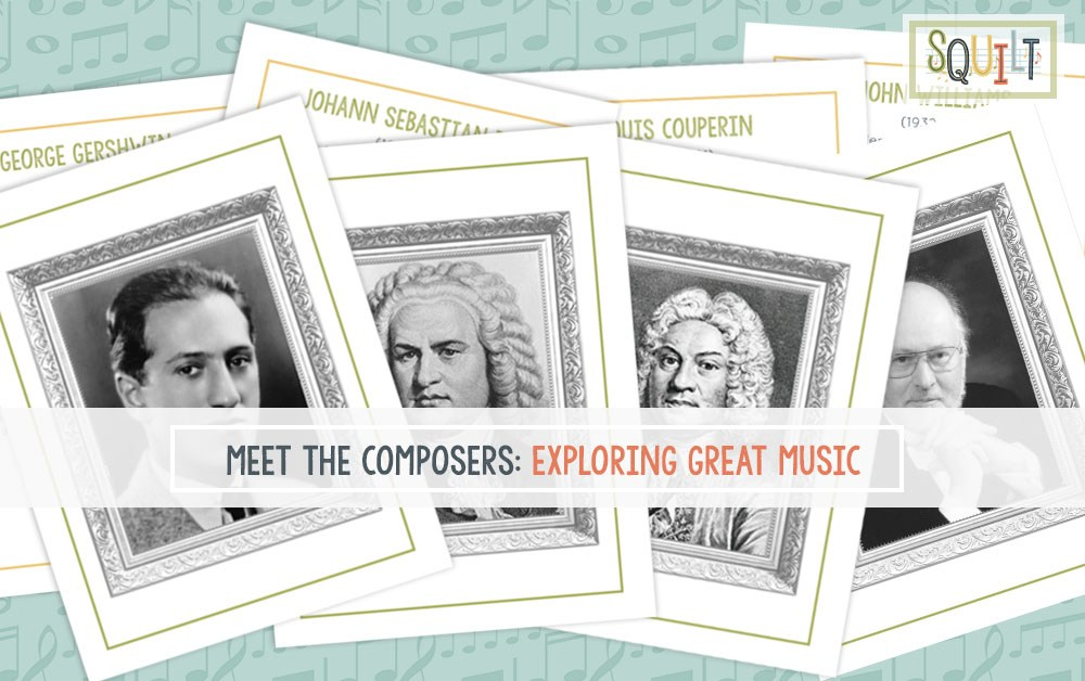Meet the Composers from SQUILT is a great way to do composer study with your kids. Includes flash cards and links to music to listen to. #musiceducation #composerstudy #homeschoolmusic #musiced #elementarymusic #musicinourhomeschool