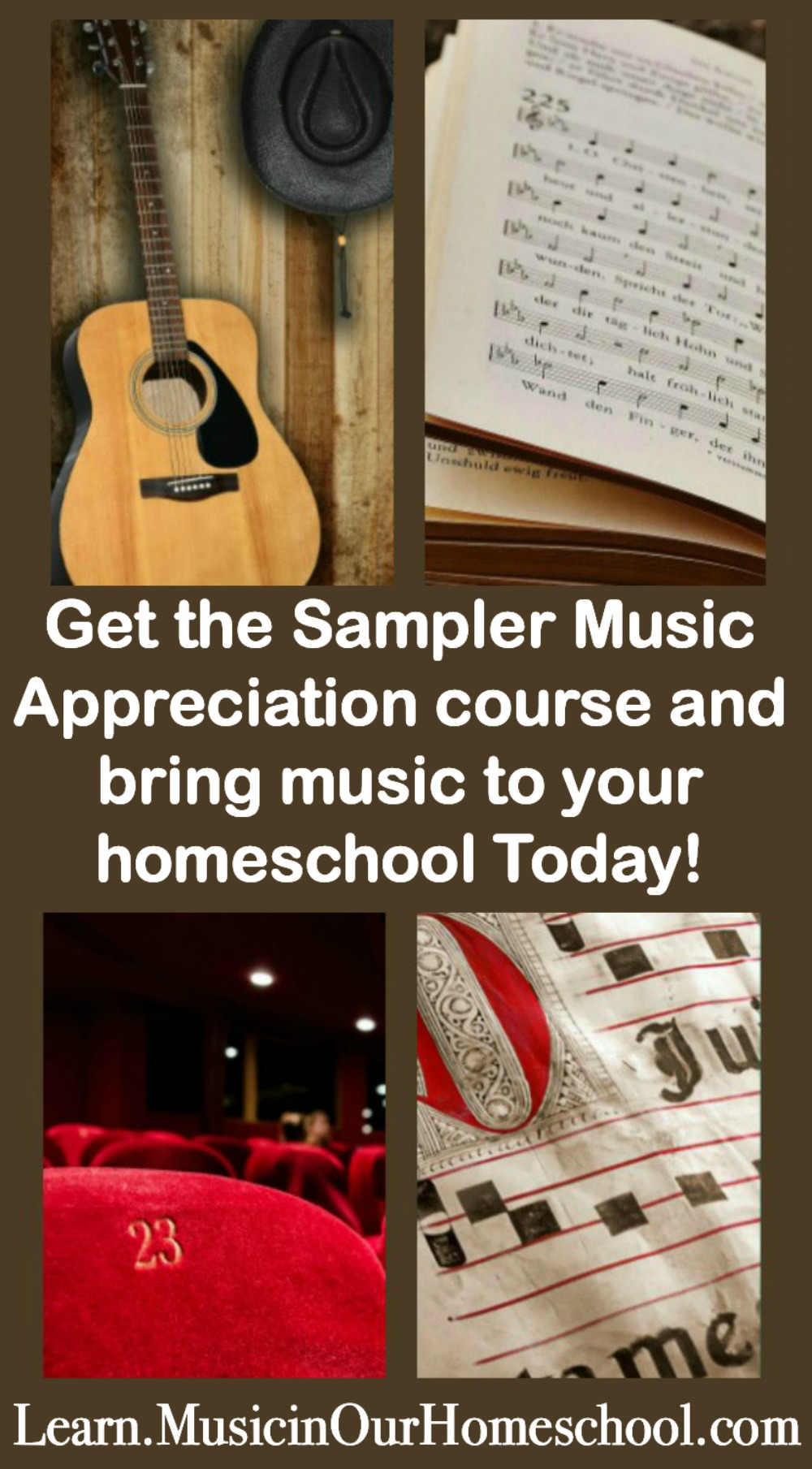 The Sampler Music Appreciation online course gives you a taste of many of the different course lessons available at Learn.MusicinOurHomeschool.com. #music #onlinemusic #homeschoolmusic #musicinourhomeschool