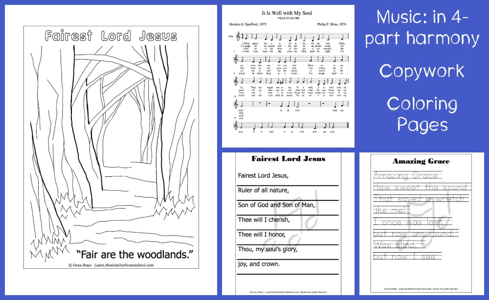 Great Hymns of the Faith Music, Copywork, and Coloring Pages for the online course at Learn.MusicinOurHomeschool.com. Best hymn study course ever!