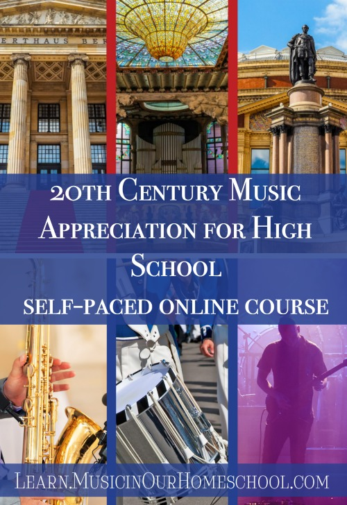 20th Century Music Appreciation for High School self-paced online course at Learn.MusicinOurHomeschool.com, an online course for high school students to get high school music appreciation fine arts credit. #musicappreciation #musiceducation #highschool #musicinourhomeschool