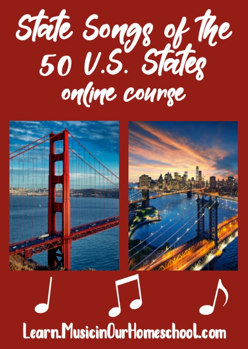 """State Songs of the 50 U.S. States"" online course from Music in Our Homeschool is the perfect way to combine geography and music education in your homeschool, classroom, or homeschool co-op. Click through to see a free preview lesson. #musiccourse #elementarymusic #musiceducation #musiclessonsforkids #musicinourhomeschool"