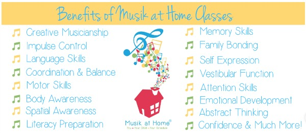 Benefits of Musik at Home Classes. The Best Musical Activity for Preschoolers, Toddlers, & Babies. Musik at Home has Mommy & Me classes you can do in the comfort of your own home! #musicinourhomeschool #homeschoolmusic #musiceducation #musicforpreschoolers