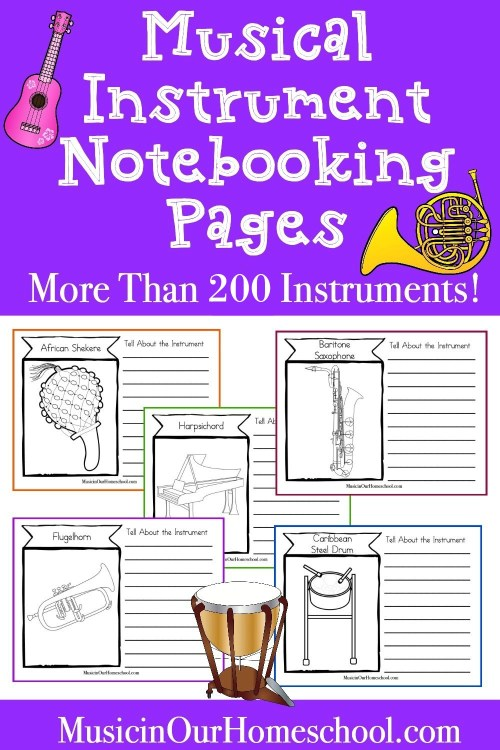 There are more than 215 different instruments in the Musical Instruments Notebooking Pages set! Use these for music education in your homeschool or classroom. One side has a black and white drawing of the musical instrument and the other side has lines for writing about the instrument, style, instrument family, and/or performers who play that instrument. #musicinourhomeschool #elementarymusic #musiclessonsforkids #homeschoolmusic