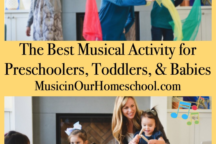 The Best Musical Activity for Preschoolers, Toddlers, & Babies. Musik at Home has Mommy & Me classes you can do in the comfort of your own home! #musicinourhomeschool #homeschoolmusic #musiceducation #musicforpreschoolers