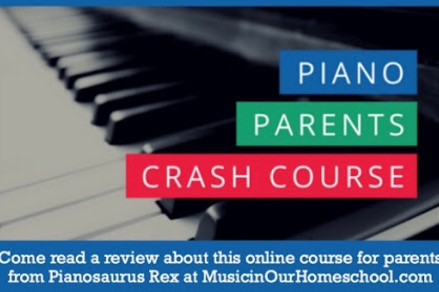 Piano Parents Crash Course, an online course for parents of new piano students from Pianosaurus Rex. Read the review at MusicinOurHomeschool.com. #music #pianolessons #musicinourhomeschool