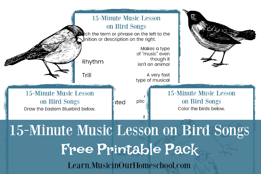 15-Minute Music Lesson on Bird Songs free video lesson and printable pack