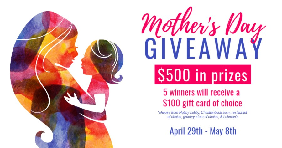 This Mother's Day giveaway for moms is giving away 5 (FIVE!) $100 gift cards.