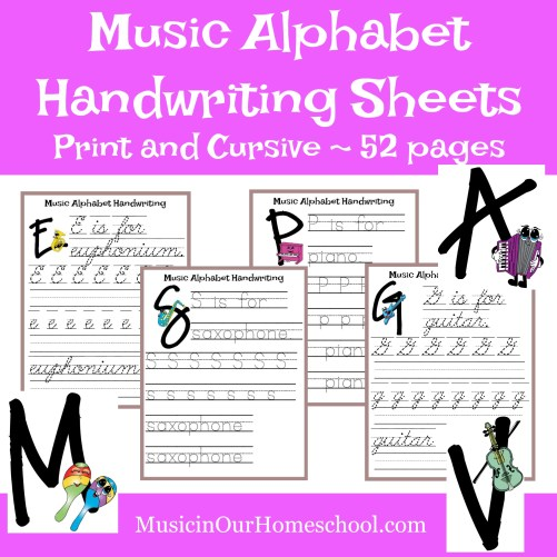 Elementary Music Fun Bundle of Activities: Music Alphabet Handwriting Printable Pack